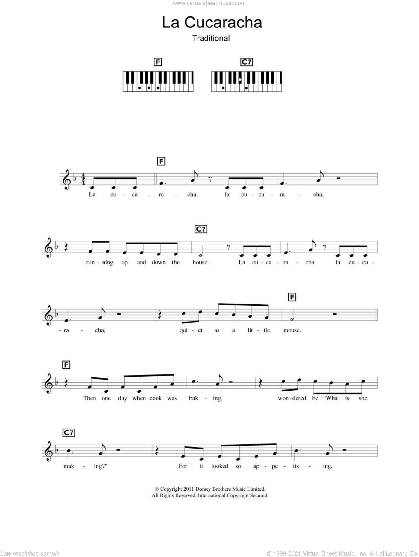 La Cucaracha (The Cockroach) sheet music for piano solo (chords, lyrics, melody)  and Xavier Cugat, intermediate piano (chords, lyrics, melody)