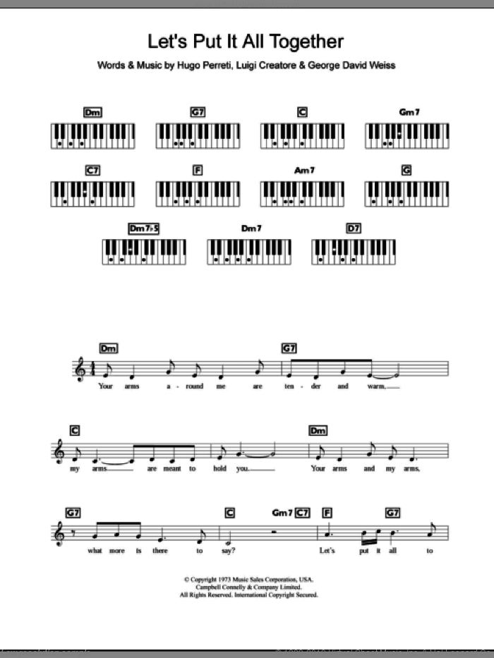 Let's Put It All Together sheet music for piano solo (chords, lyrics, melody) by Luigi Creatore