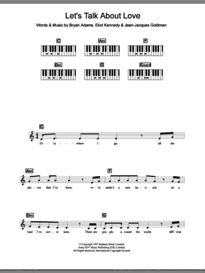 Let's Talk About Love sheet music for piano solo (chords, lyrics, melody) by Celine Dion, Bryan Adams and Eliot Kennedy, intermediate piano (chords, lyrics, melody). Score Image Preview.
