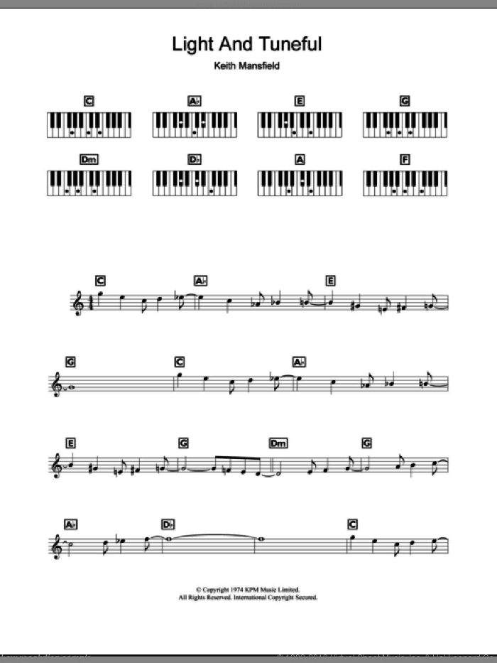 Light And Tuneful (Wimbledon Opening Theme) sheet music for piano solo (chords, lyrics, melody) by Keith Mansfield