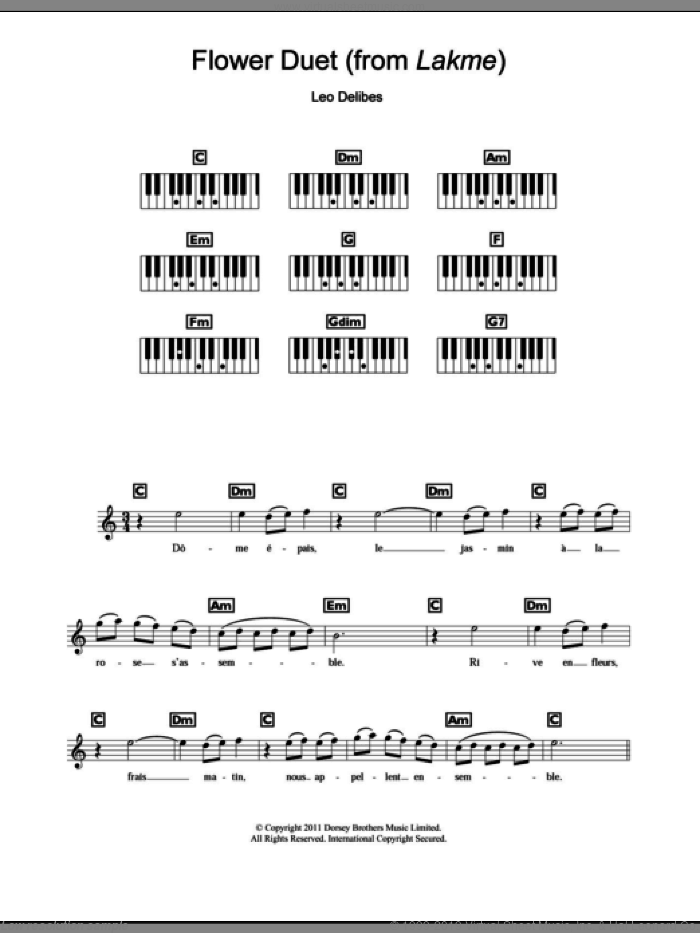 Flower Duet sheet music for piano solo (chords, lyrics, melody) by Leo Delibes, classical score, intermediate piano (chords, lyrics, melody). Score Image Preview.