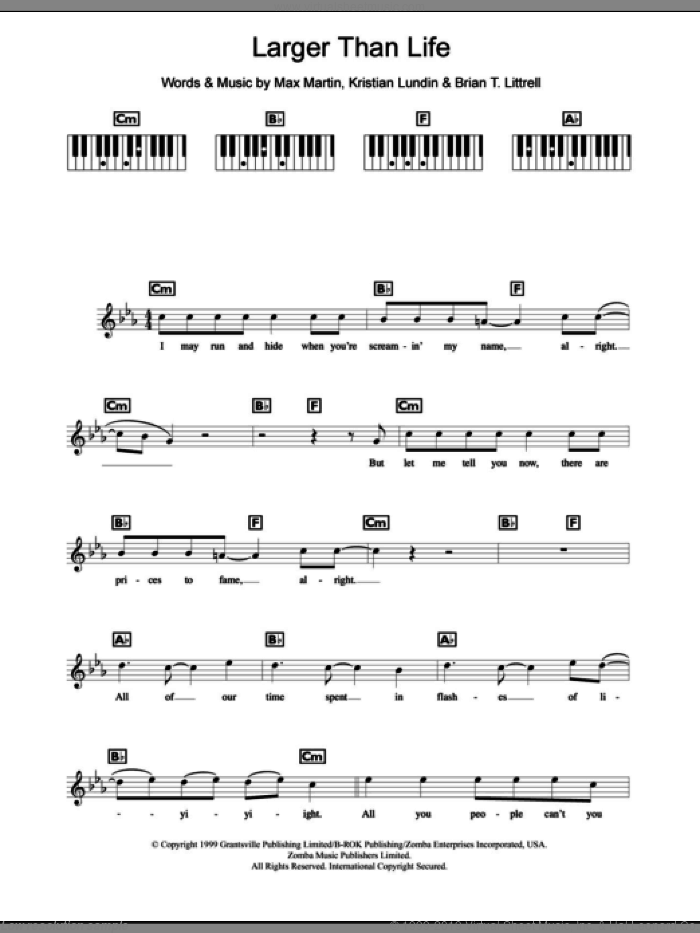 Larger Than Life sheet music for piano solo (chords, lyrics, melody) by Backstreet Boys, Kristian Lundin and Max Martin, intermediate piano (chords, lyrics, melody). Score Image Preview.