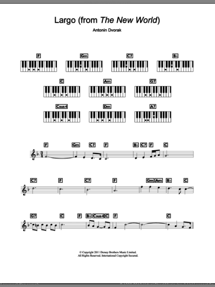 Largo (from The New World) sheet music for piano solo (chords, lyrics, melody) by Antonin Dvorak, classical score, intermediate piano (chords, lyrics, melody). Score Image Preview.