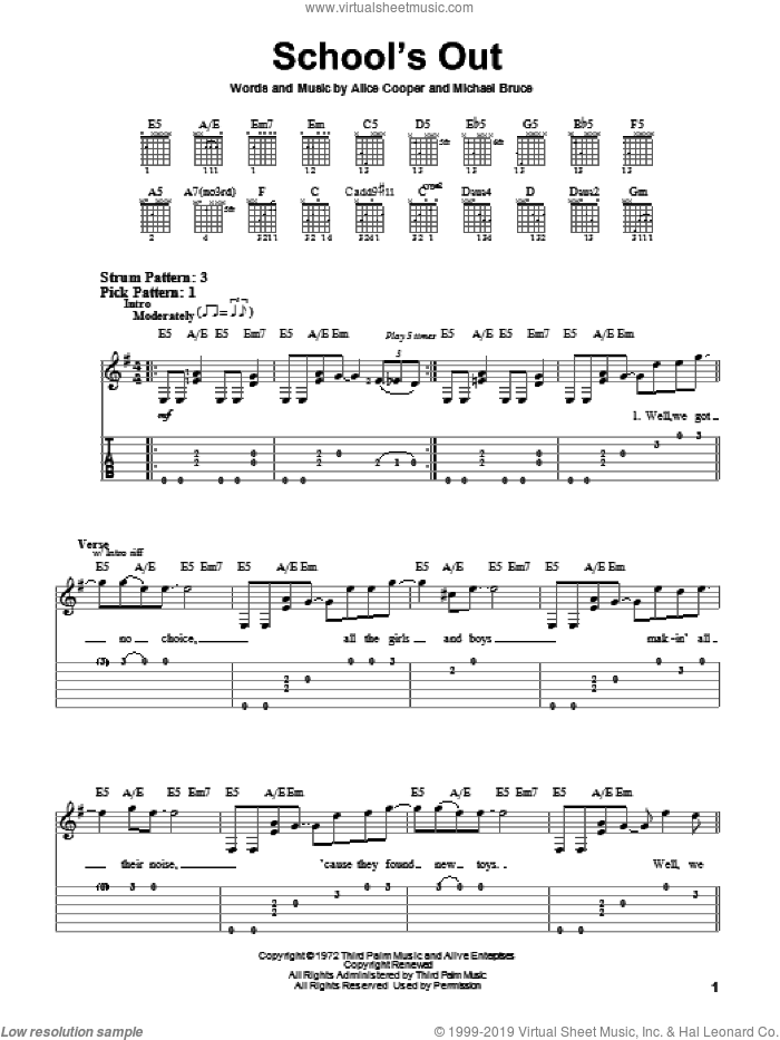 School's Out sheet music for guitar solo (easy tablature) by Alice Cooper and Michael Bruce, easy guitar (easy tablature)