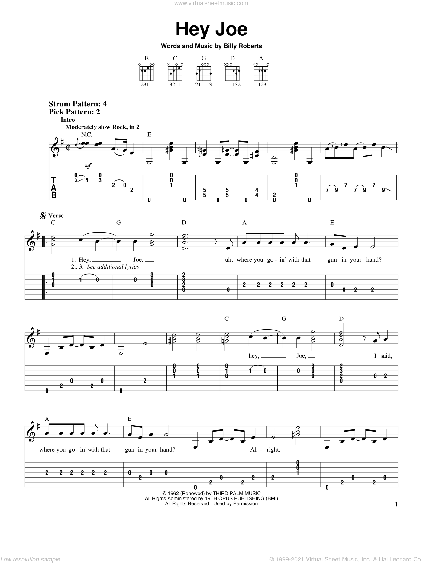 Hey Joe sheet music for guitar solo (easy tablature) by Jimi Hendrix and Billy Roberts, easy guitar (easy tablature)
