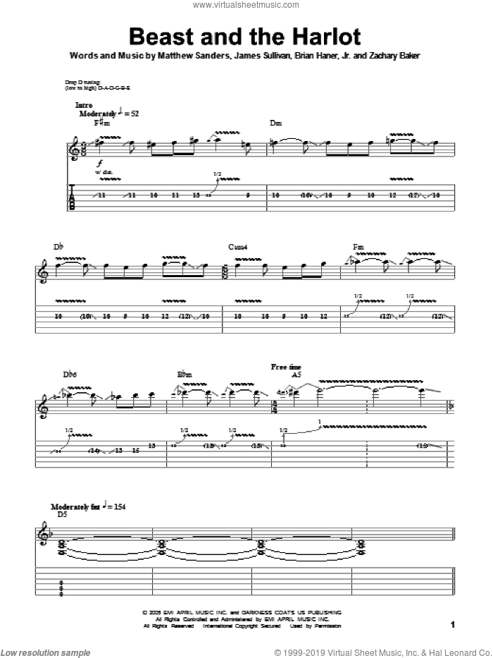 Beast And The Harlot sheet music for guitar (tablature, play-along) by Avenged Sevenfold, Brian Haner, Jr., James Sullivan, Matthew Sanders and Zachary Baker, intermediate skill level