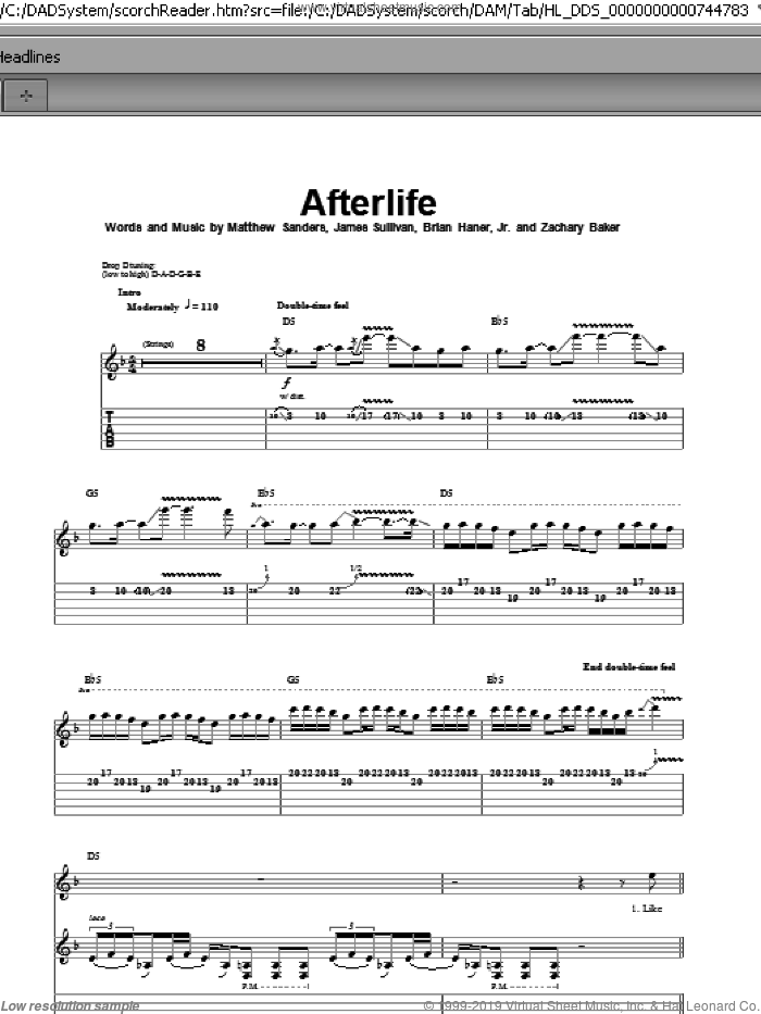 Afterlife sheet music for guitar (tablature, play-along) by Zachary Baker