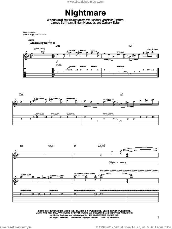 Nightmare sheet music for guitar (tablature, play-along) by Avenged Sevenfold, Brian Haner, Jr., James Sullivan, Jonathan Seward, Matthew Sanders and Zachary Baker, intermediate. Score Image Preview.