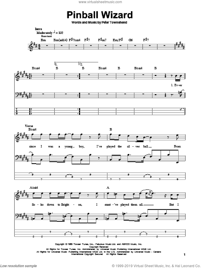 Pinball Wizard sheet music for bass (tablature) (bass guitar) by The Who, Elton John and Pete Townshend. Score Image Preview.
