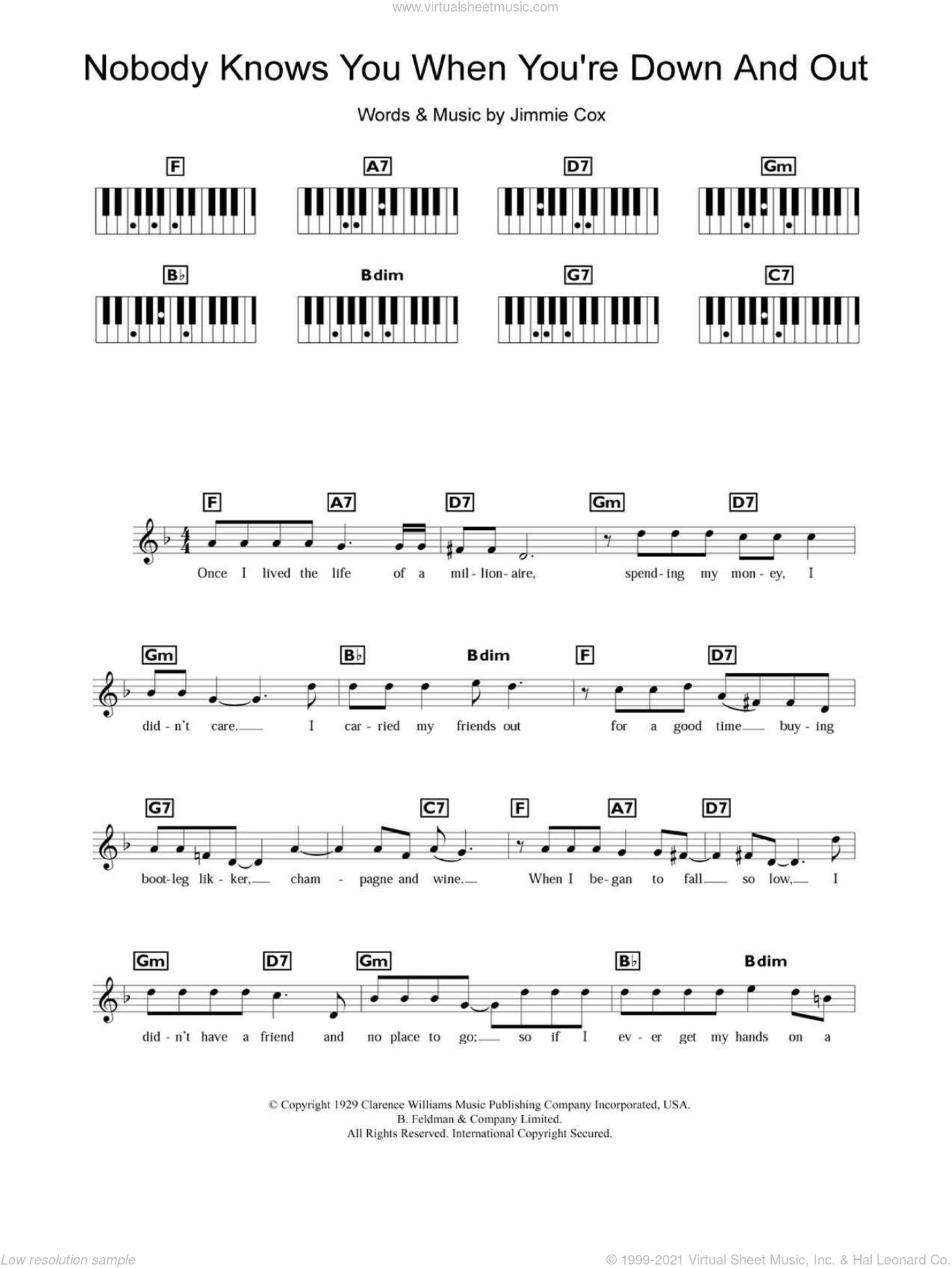 Nobody Knows You When You're Down And Out sheet music for piano solo (chords, lyrics, melody) by Jimmie Cox. Score Image Preview.