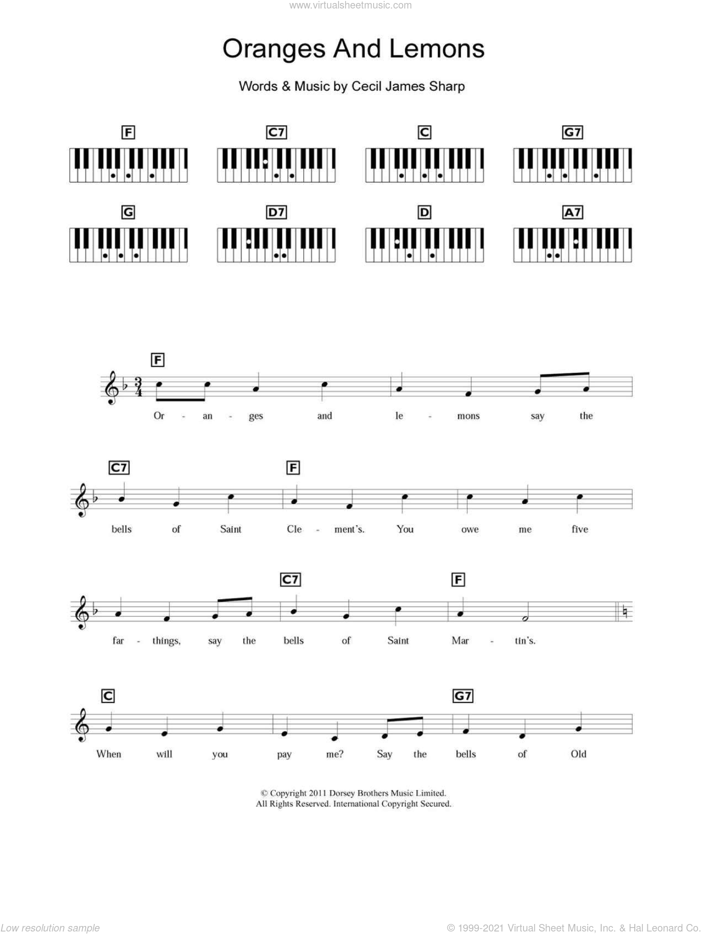 Oranges And Lemons sheet music for piano solo (chords, lyrics, melody). Score Image Preview.