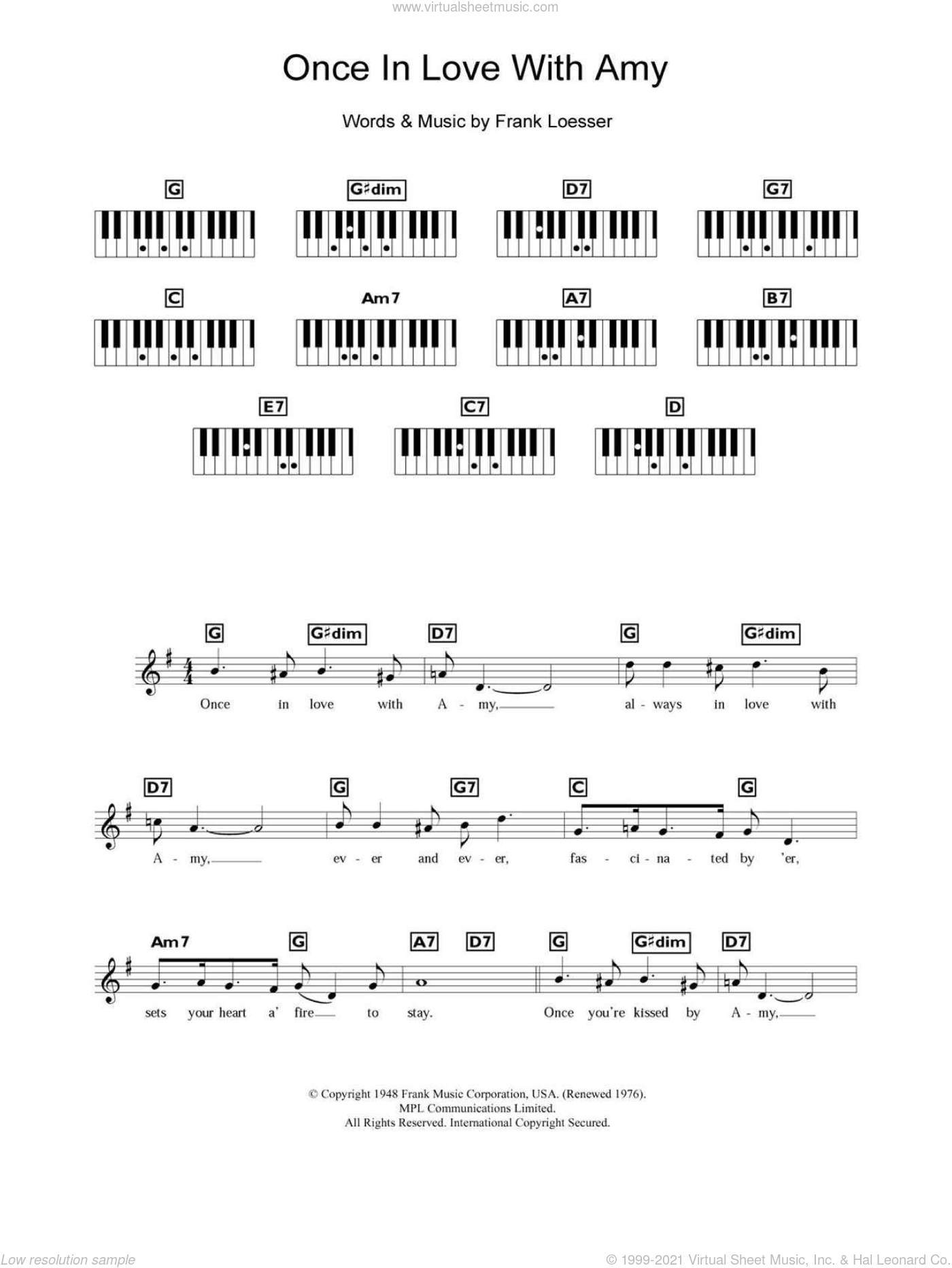 Once In Love With Amy sheet music for piano solo (chords, lyrics, melody) by Frank Loesser. Score Image Preview.