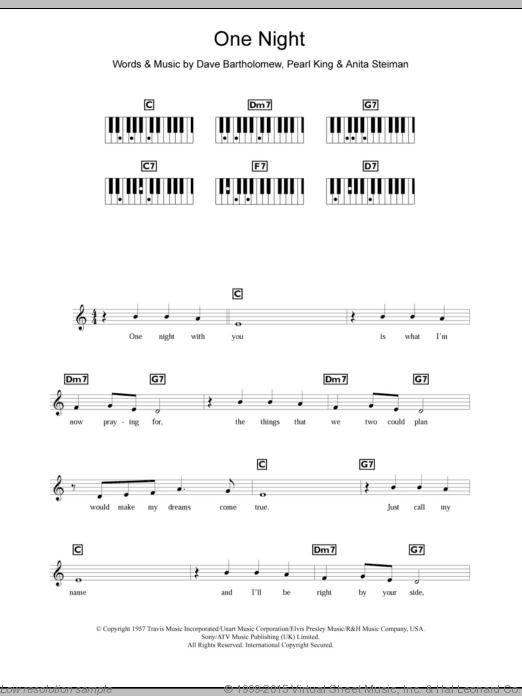 One Night sheet music for piano solo (chords, lyrics, melody) by Pearl King