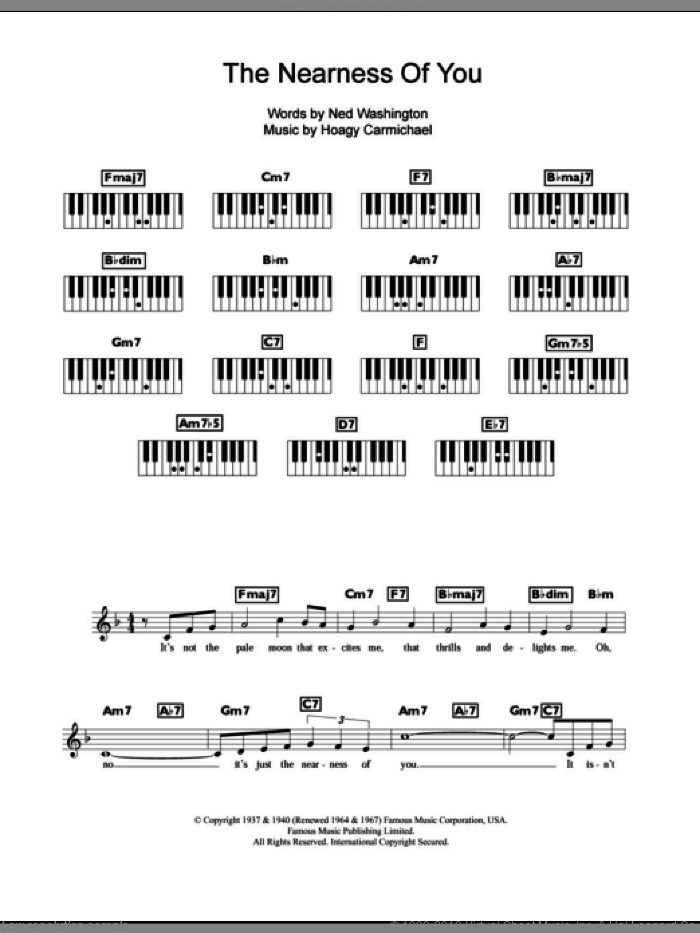 The Nearness Of You sheet music for piano solo (chords, lyrics, melody) by Ned Washington, Norah Jones, Rod Stewart and Hoagy Carmichael. Score Image Preview.