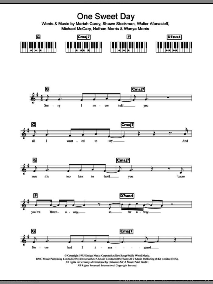 One Sweet Day sheet music for piano solo (chords, lyrics, melody) by Wanya Morris, Mariah Carey, Nathan Morris, Shawn Stockman and Walter Afanasieff. Score Image Preview.