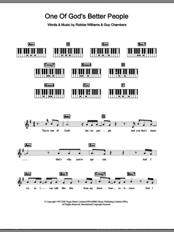 One Of God's Better People sheet music for piano solo (chords, lyrics, melody) by Robbie Williams and Guy Chambers, intermediate piano (chords, lyrics, melody)
