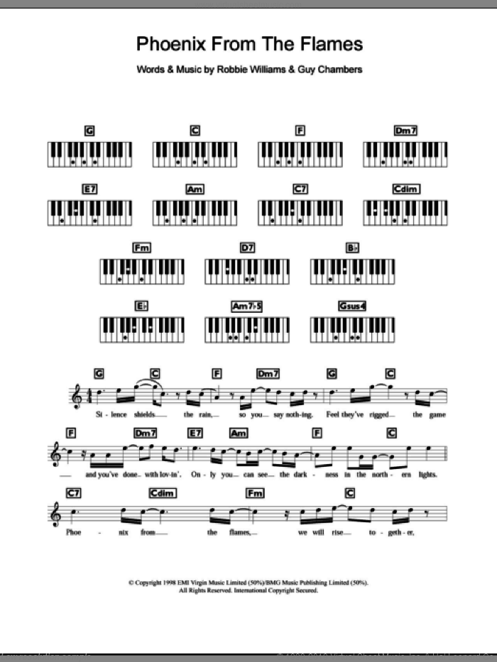 Phoenix From The Flames sheet music for piano solo (chords, lyrics, melody) by Guy Chambers and Robbie Williams. Score Image Preview.
