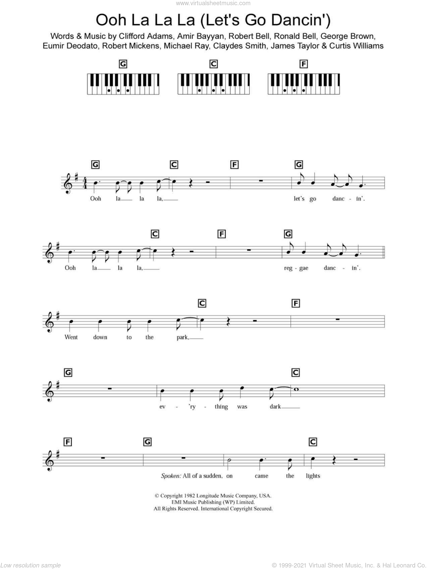 Ooh La La La (Let's Go Dancin') sheet music for piano solo (chords, lyrics, melody) by Kool And The Gang, Amir Bayyan, Claydes Smith, Clifford Adams, Curtis Williams, Eumir Deodato, George Brown, James Taylor, Michael Ray, Robert Bell, Robert Mickens and Ronald Bell, intermediate piano (chords, lyrics, melody). Score Image Preview.