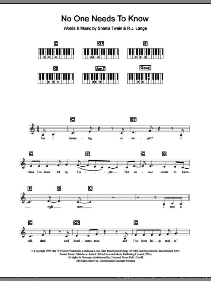 No One Needs To Know sheet music for piano solo (chords, lyrics, melody) by Shania Twain and Robert John Lange, intermediate piano (chords, lyrics, melody)