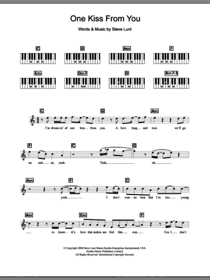 One Kiss From You sheet music for piano solo (chords, lyrics, melody) by Steve Lunt and Britney Spears. Score Image Preview.