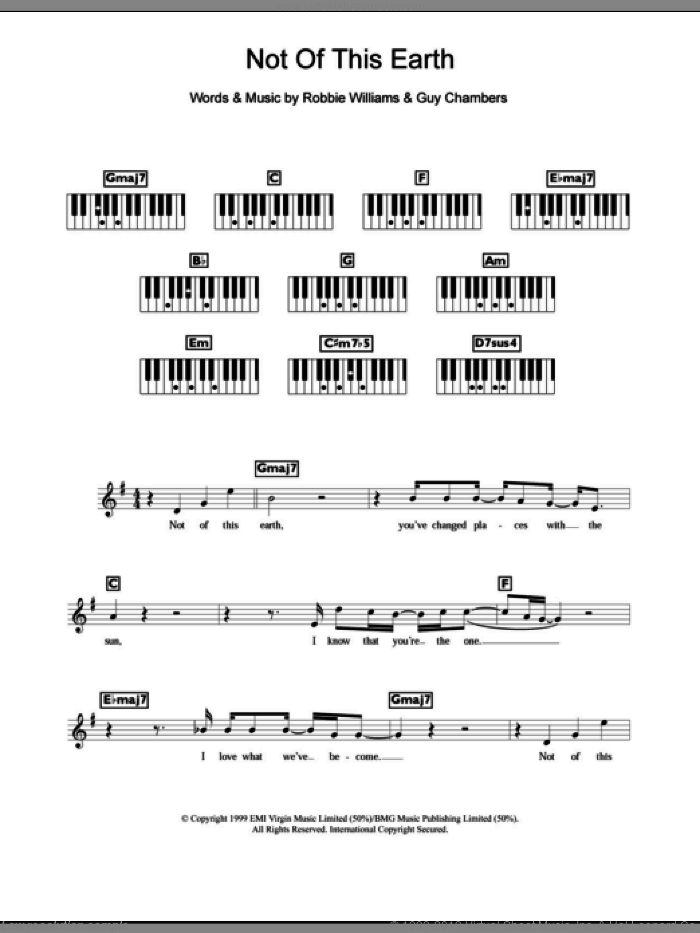 Not Of This Earth sheet music for piano solo (chords, lyrics, melody) by Guy Chambers and Robbie Williams. Score Image Preview.