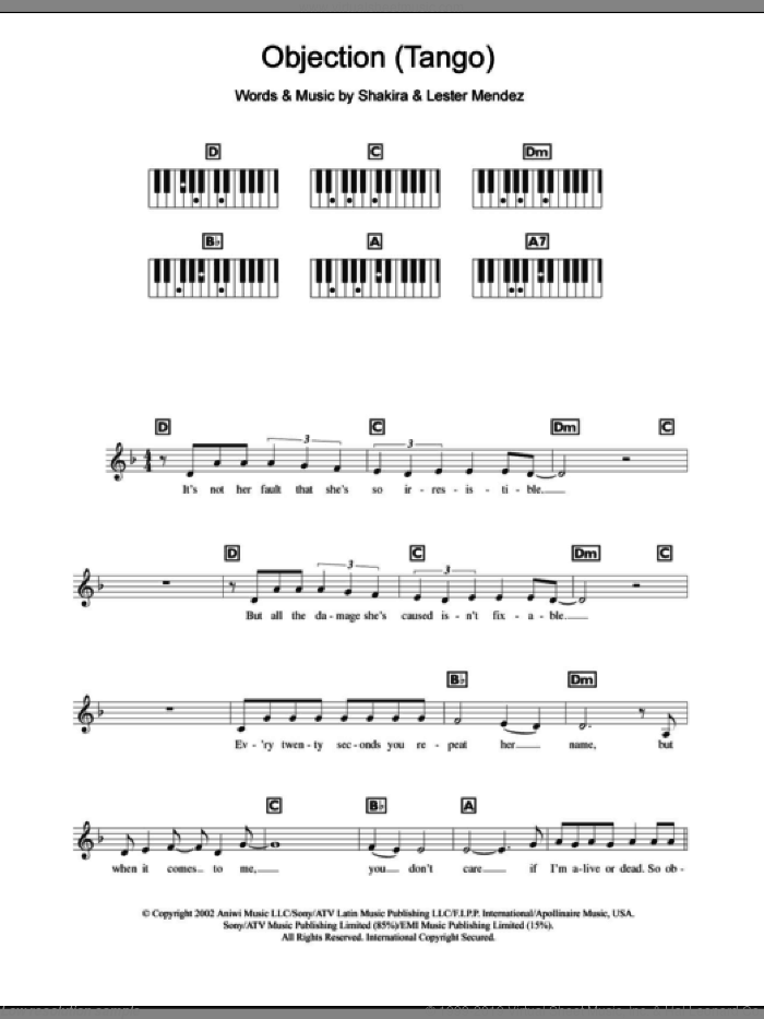 Objection (Tango) sheet music for piano solo (chords, lyrics, melody) by Shakira and Lester Mendez, intermediate piano (chords, lyrics, melody)