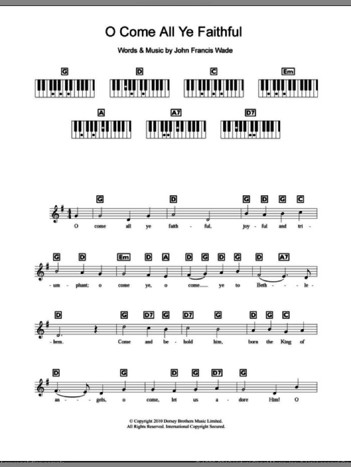 O Come, All Ye Faithful (Adeste Fideles) sheet music for piano solo (chords, lyrics, melody) by John Francis Wade, intermediate piano (chords, lyrics, melody)