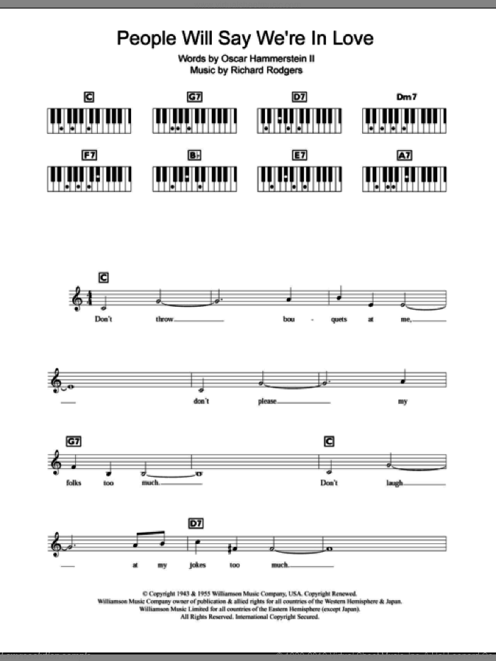 People Will Say We're In Love sheet music for piano solo (chords, lyrics, melody) by Richard Rodgers, Rodgers & Hammerstein and Oscar II Hammerstein. Score Image Preview.