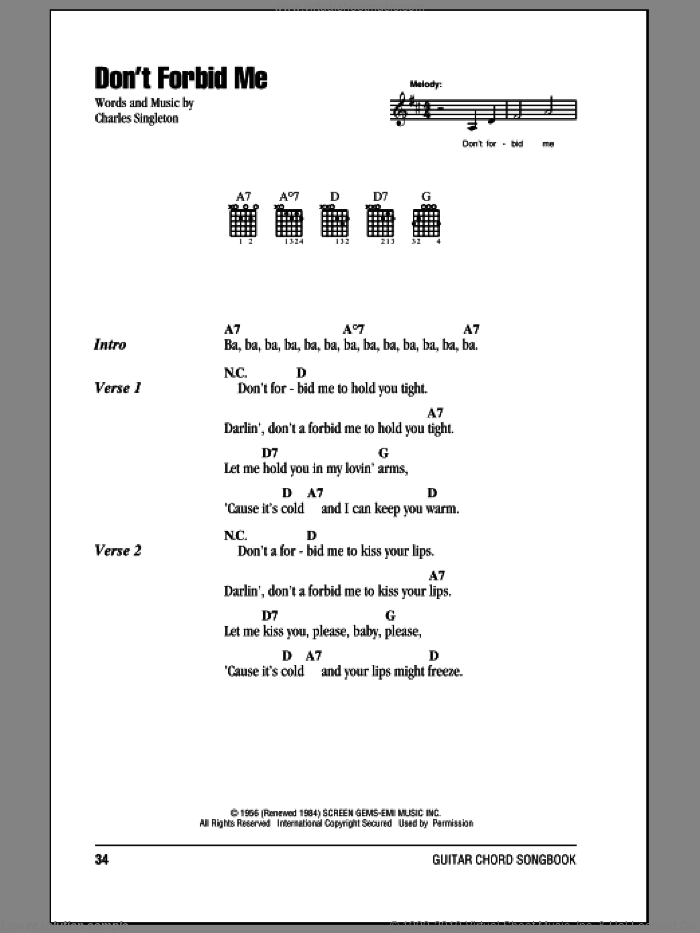 Don't Forbid Me sheet music for guitar (chords) by Pat Boone and Charles Singleton. Score Image Preview.