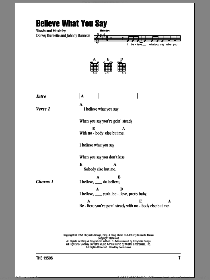 Believe What You Say sheet music for guitar (chords) by Johnny Burnette, Ricky Nelson and Dorsey Burnette. Score Image Preview.