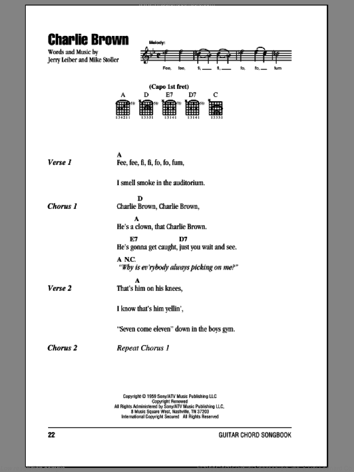 Charlie Brown sheet music for guitar (chords) by The Coasters and Mike Stoller, intermediate guitar (chords). Score Image Preview.