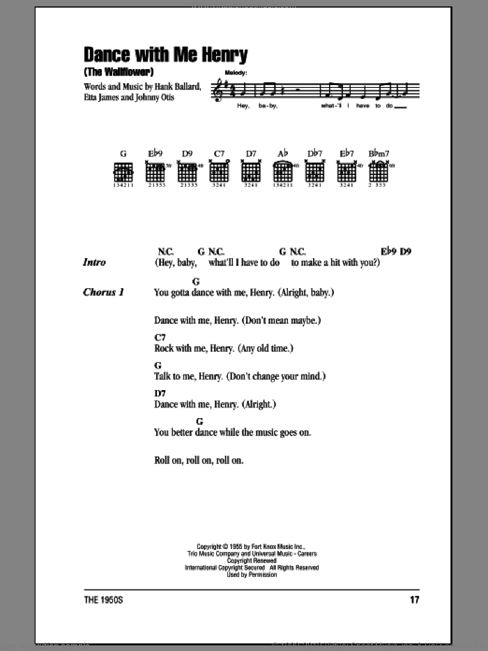 Dance With Me Henry (The Wallflower) sheet music for guitar (chords) by Johnny Otis, Etta James and Hank Ballard. Score Image Preview.