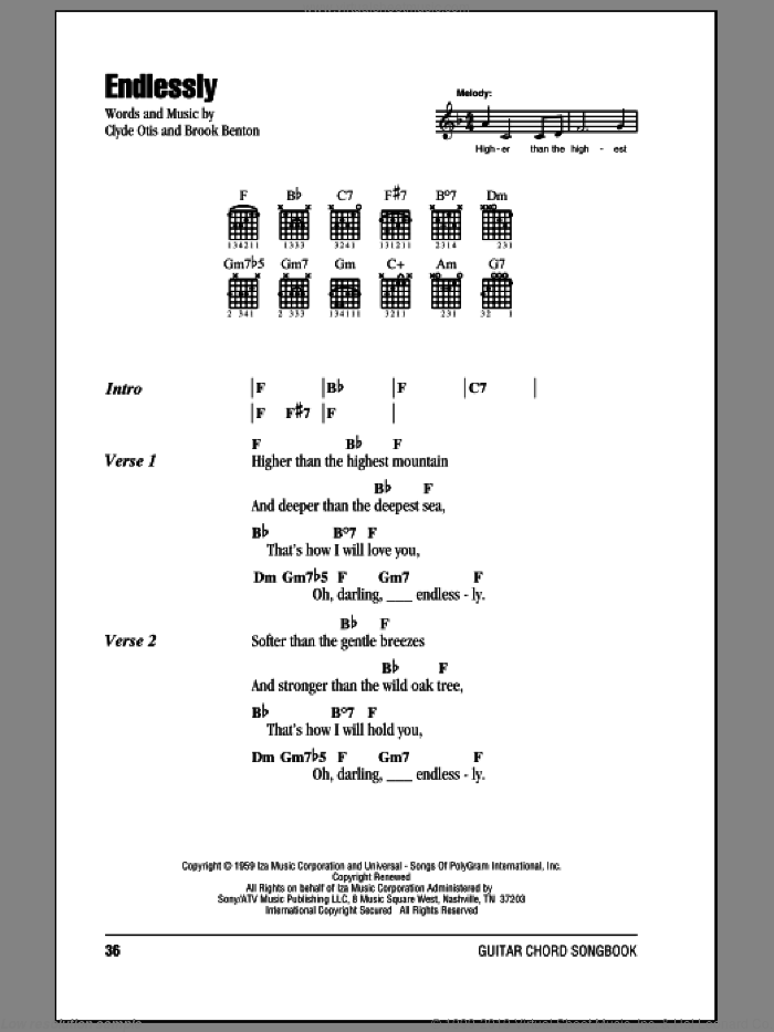 Endlessly sheet music for guitar (chords) by Brook Benton, Sonny James and Clyde Otis, intermediate guitar (chords). Score Image Preview.