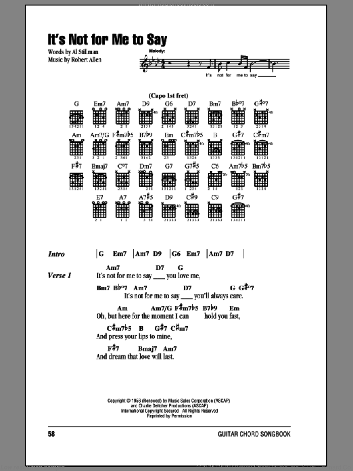 It's Not For Me To Say sheet music for guitar (chords) by Johnny Mathis, Al Stillman and Robert Allen, intermediate skill level