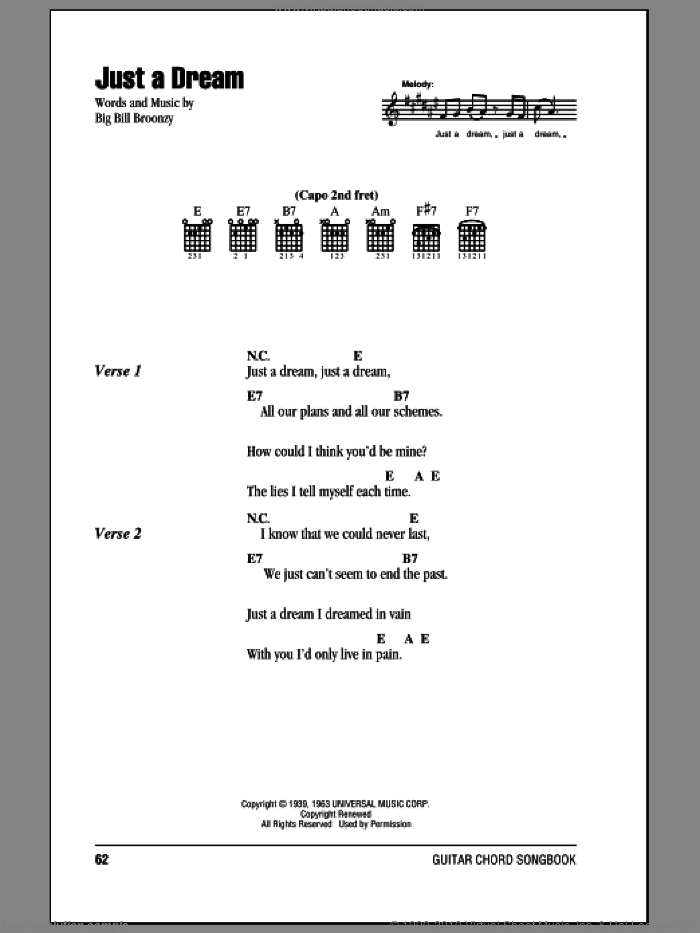 Just A Dream sheet music for guitar (chords) by Big Bill Broonzy and Jimmy Clanton. Score Image Preview.