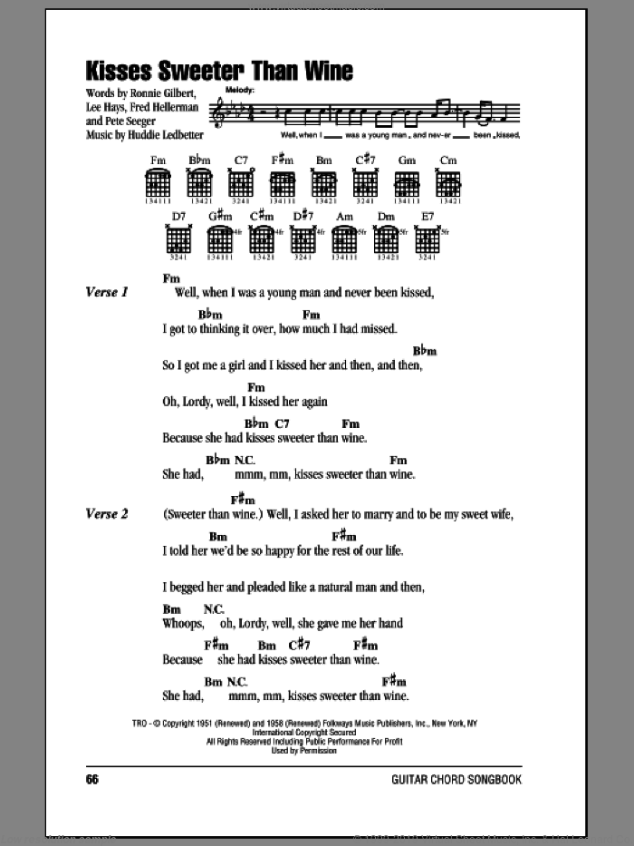 Kisses Sweeter Than Wine sheet music for guitar (chords) by Paul Campbell, Jimmie Rodgers, Huddie Ledbetter, Pete Seeger and Ronnie Gilbert, intermediate guitar (chords). Score Image Preview.