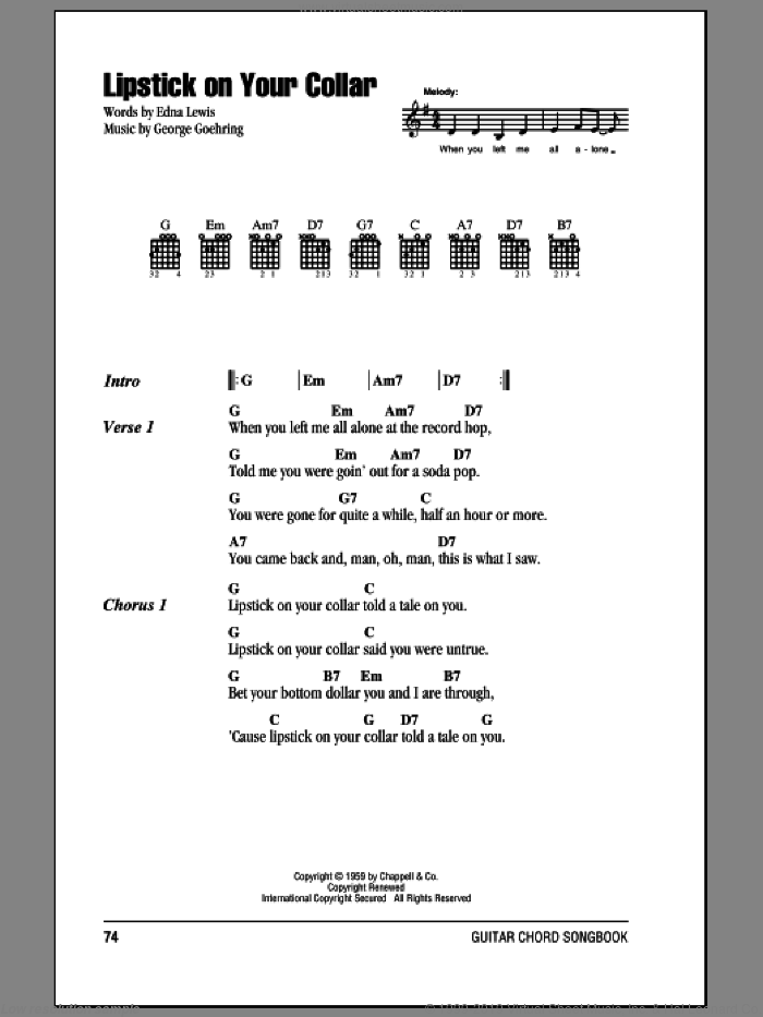 Lipstick On Your Collar sheet music for guitar (chords, lyrics, melody) by George Goehring
