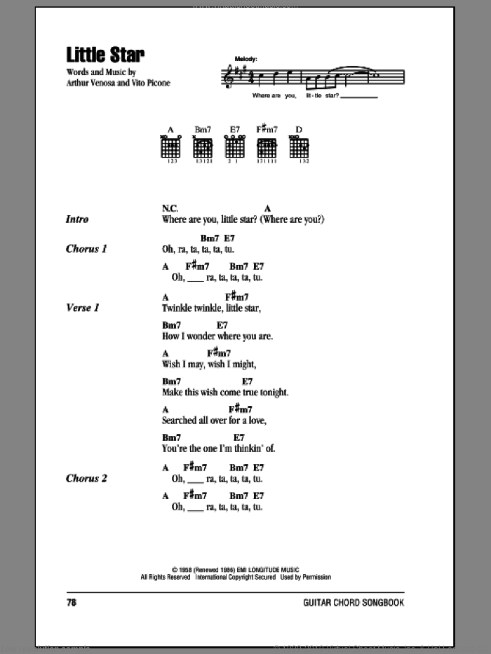 Little Star sheet music for guitar (chords) by The Elegants, intermediate. Score Image Preview.