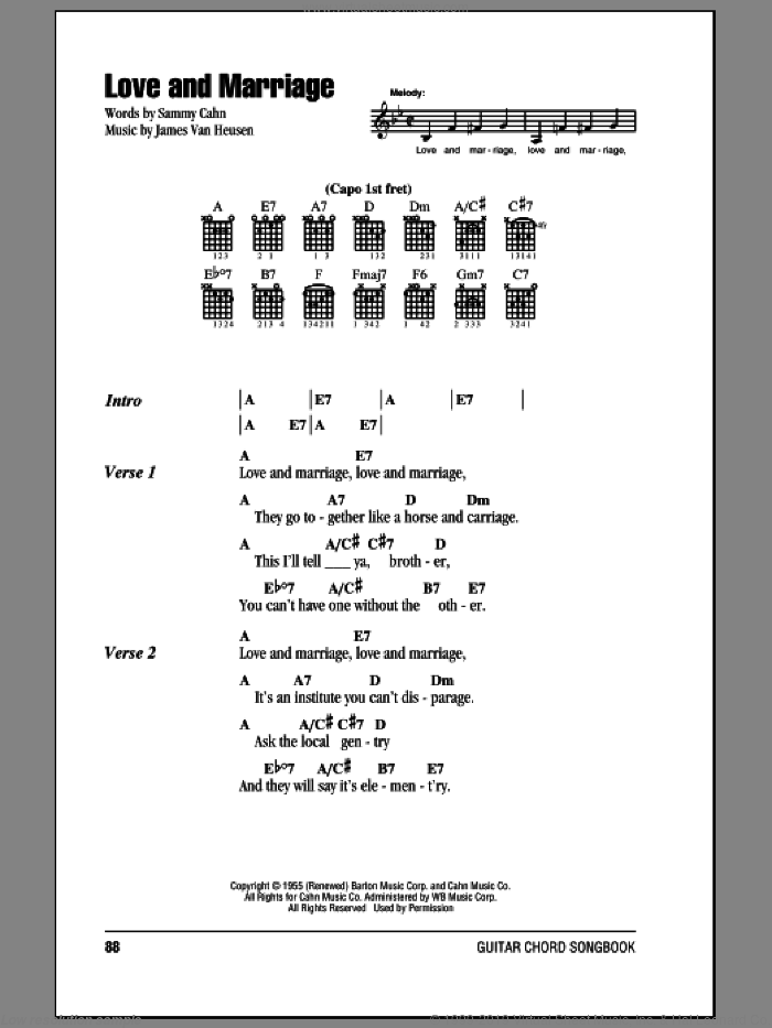 Love And Marriage sheet music for guitar (chords) by Sammy Cahn, Frank Sinatra and Jimmy van Heusen. Score Image Preview.