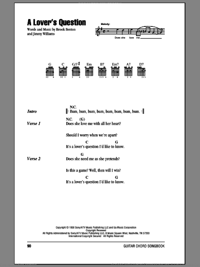 A Lover's Question sheet music for guitar (chords) by Jimmy Williams and Brook Benton. Score Image Preview.