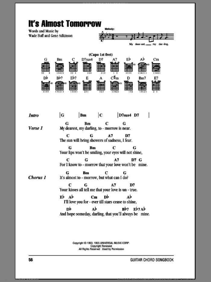 It's Almost Tomorrow sheet music for guitar (chords) by Gene Adkinson and Wade Buff