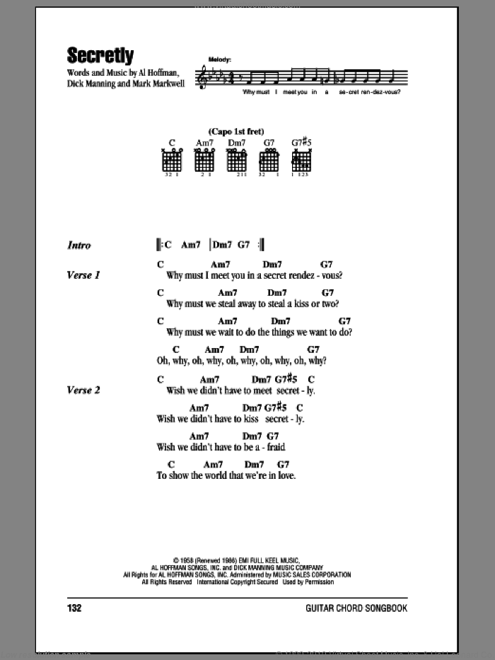 Secretly sheet music for guitar (chords) by Jimmie Rodgers, Al Hoffman, Dick Manning and Mark Markwell, intermediate