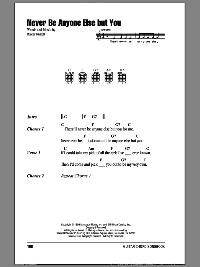Never Be Anyone Else But You sheet music for guitar (chords) by Baker Knight and Ricky Nelson. Score Image Preview.
