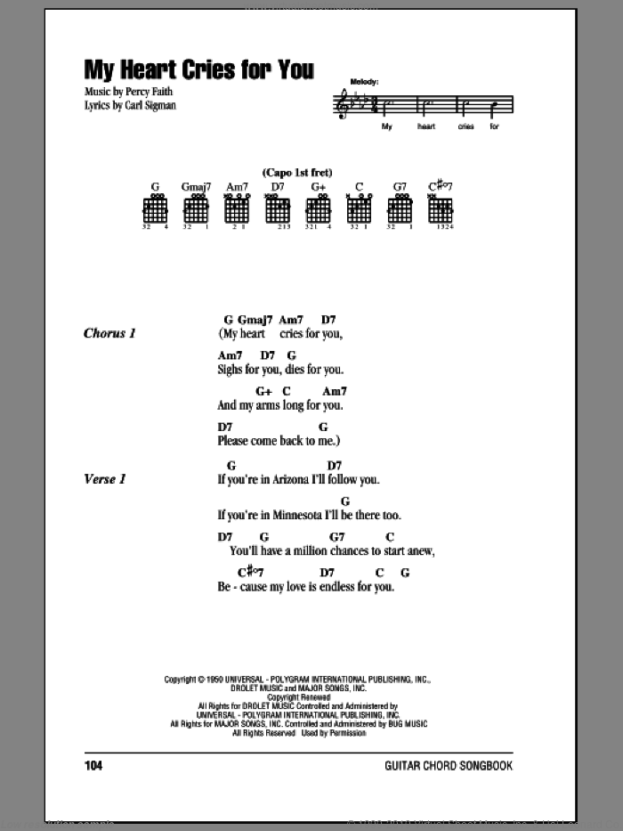 My Heart Cries For You sheet music for guitar (chords, lyrics, melody) by Percy Faith