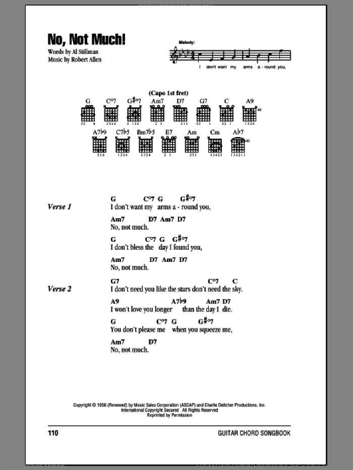 No, Not Much! sheet music for guitar (chords) by Robert Allen, The Four Lads and Al Stillman. Score Image Preview.