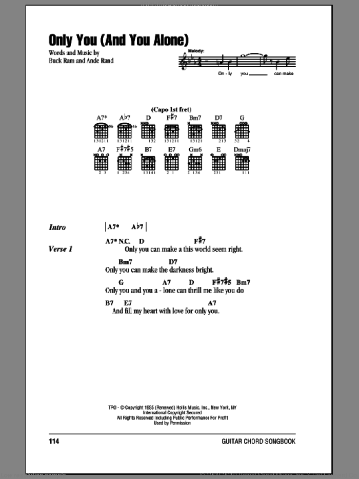 Only You (And You Alone) sheet music for guitar (chords) by Buck Ram