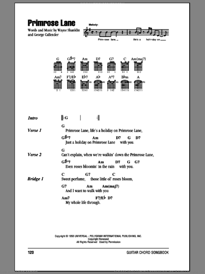 Primrose Lane sheet music for guitar (chords) by Jerry Wallace. Score Image Preview.