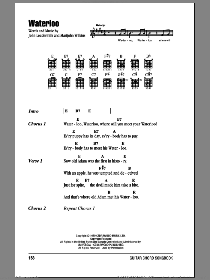 Waterloo sheet music for guitar (chords) by Stonewall Jackson, intermediate. Score Image Preview.