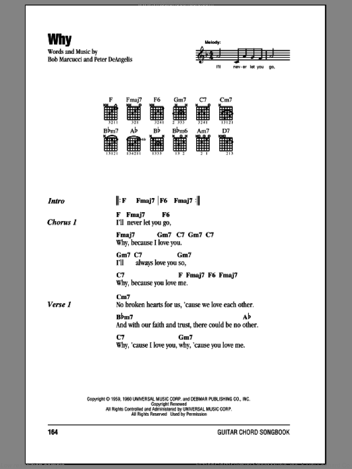 Why sheet music for guitar (chords) by Frankie Avalon, Bob Marcucci and Peter DeAngelis, intermediate skill level