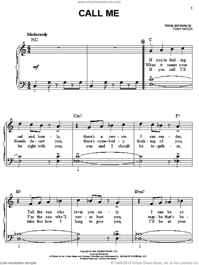 Call Me sheet music for piano solo by Petula Clark, Astrud Gilberto, California Chris Montez, Chris Montez and Tony Hatch. Score Image Preview.
